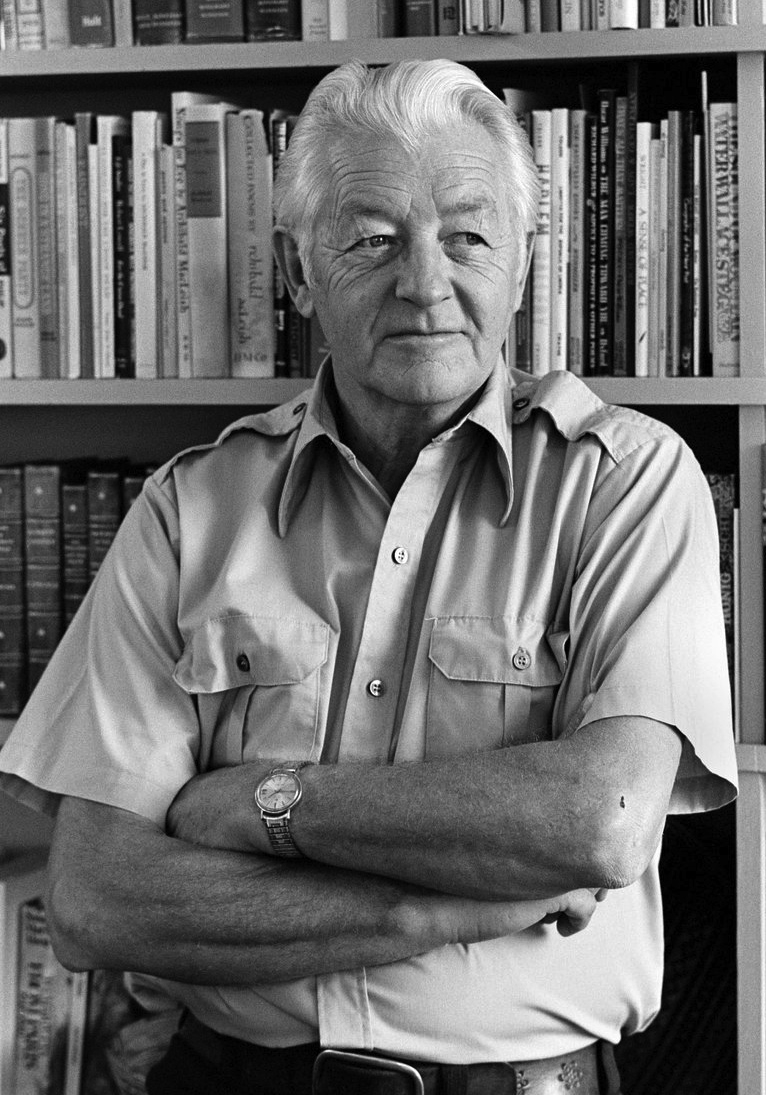"Wallace Stegner <br/> <div style= font-size:xx-small;"">Photograph © Chuck Painter </div>"